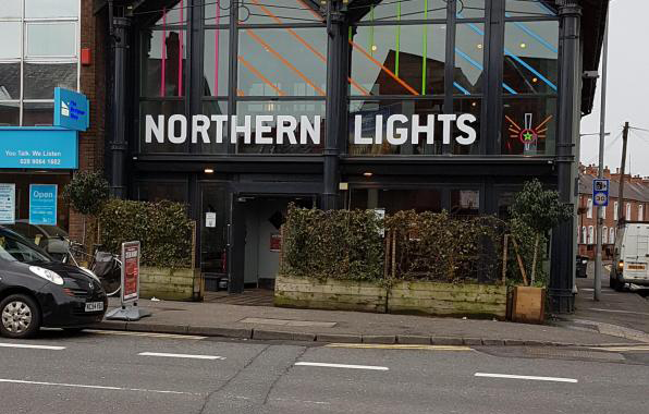 A photo of the Northern Lights, Belfast